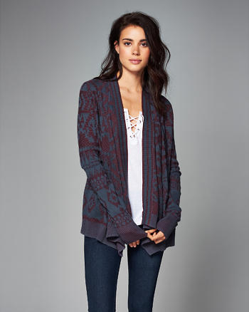 ANF Patterned Open Cardigan