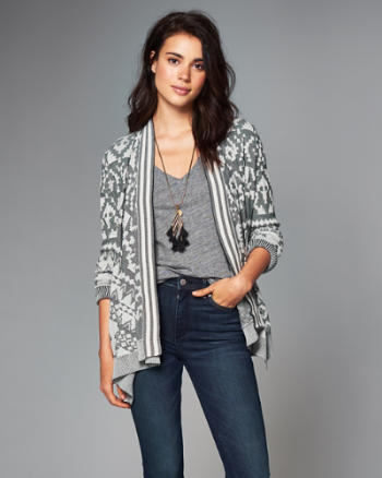 Womens Patterned Open Cardigan