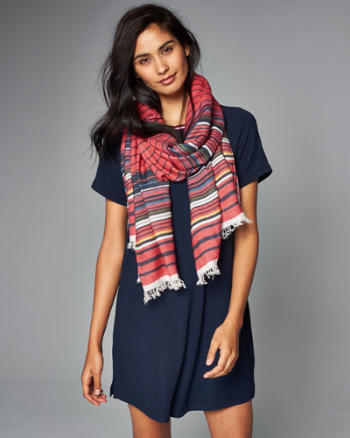 Womens Striped Fringe Scarf