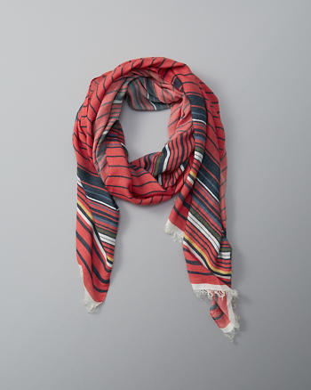 ANF Striped Fringe Scarf