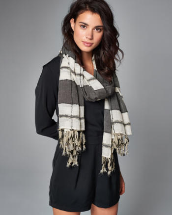 Womens Striped Embellished Fringe Scarf
