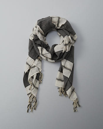 ANF Striped Embellished Fringe Scarf