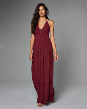 Womens Tiered Lace Halter Maxi Dress