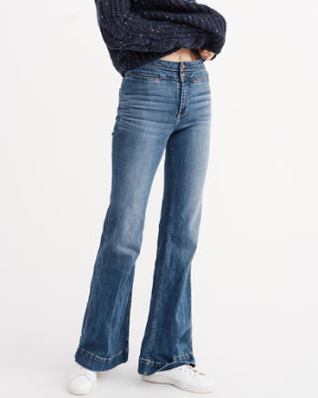 Womens High Rise Wide Leg Jeans