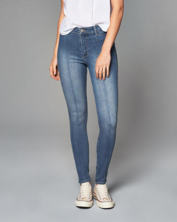 Womens Seam High Rise Ankle Jeans