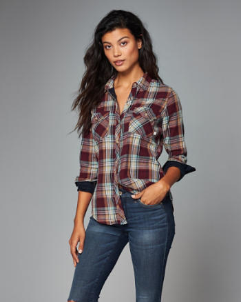 Womens Duofold Plaid Button-Up Shirt