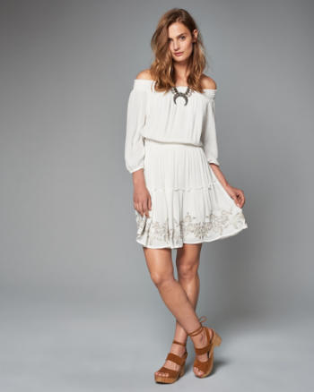 Womens Embroidered Off-The-Shoulder Dress