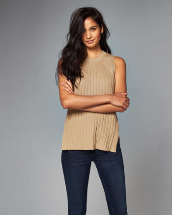 Womens Ribbed Cutout Tunic Tank