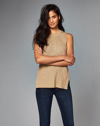 ANF Ribbed Cutout Tunic Tank
