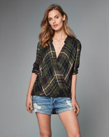 ANF Plaid Wrap-Front Top