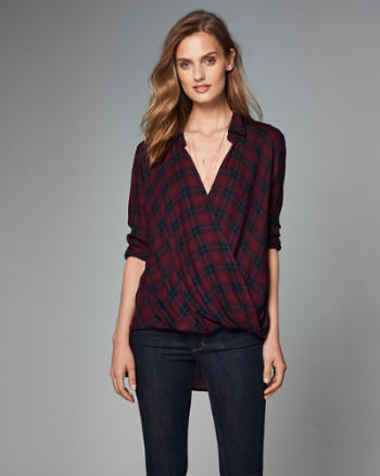 Womens Plaid Wrap-Front Top