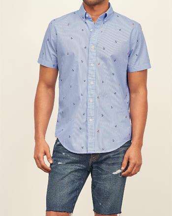 ANF Anchor Print Poplin Short Sleeve Shirt
