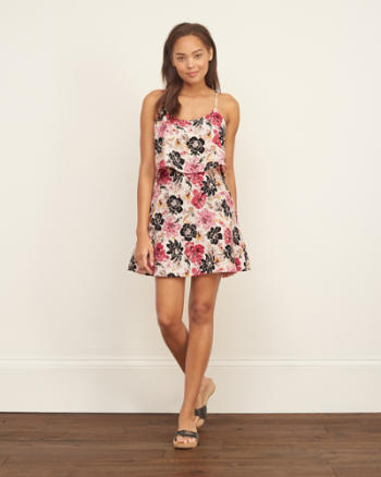 Womens Floral Pattern Tier Dress