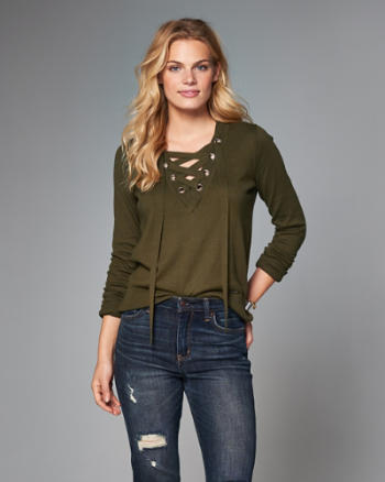 Womens Lace-Up Sweater