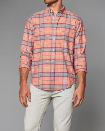 Mens Bleached Plaid Oxford Shirt