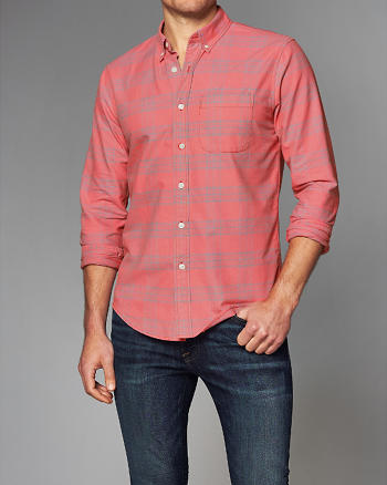 ANF Bleached Plaid Oxford Shirt