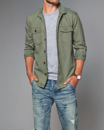 Mens Military Button-Up Shirt