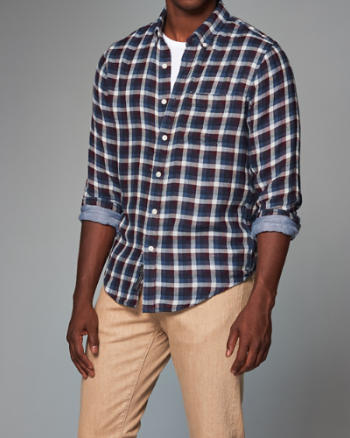 Mens Contrast Button-Up Shirt