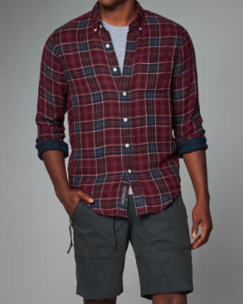 ANF Contrast Button-Up Shirt