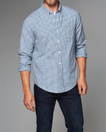 ANF Gingham Herringbone Button-Up Shirt