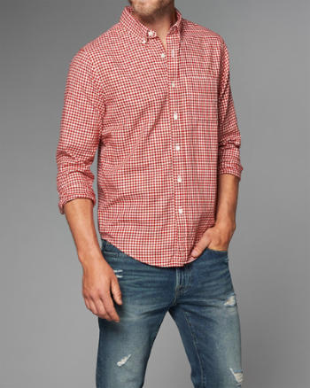 Mens Gingham Herringbone Button-Up Shirt