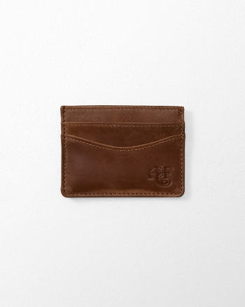 Mens Monogram Logo Leather Cardholder
