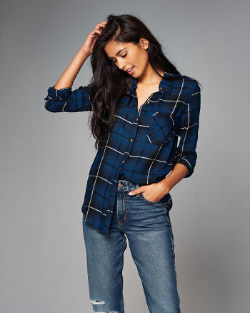 ANF Drapey Plaid Button-Up Shirt