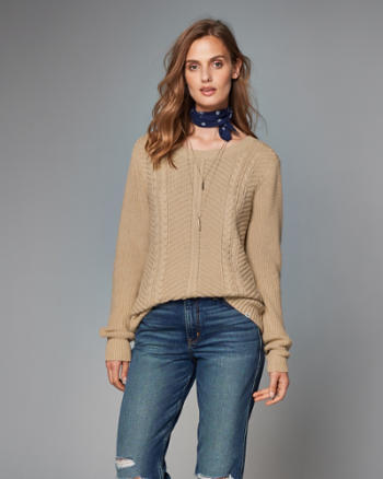 Womens Cutout Cable Knit Sweater