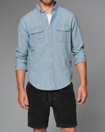 Mens Classic Fit Pocket Chambray Shirt