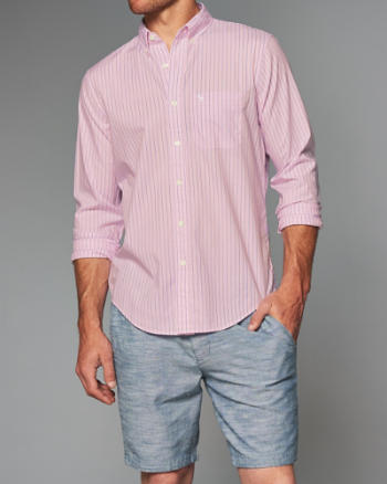 ANF Striped Cotton Poplin Shirt