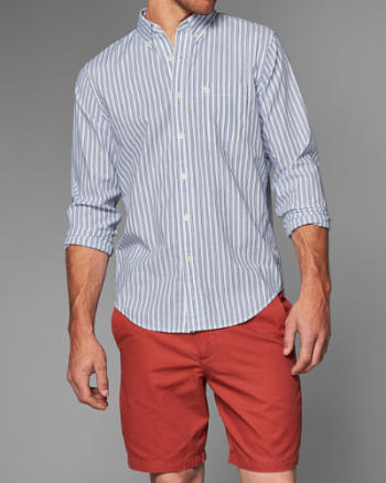 Mens Striped Cotton Poplin Shirt