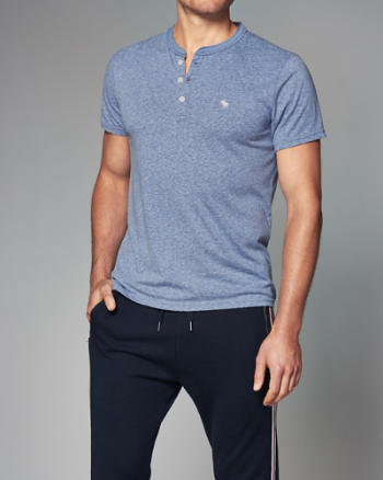 Mens Logo Short-Sleeve Henley