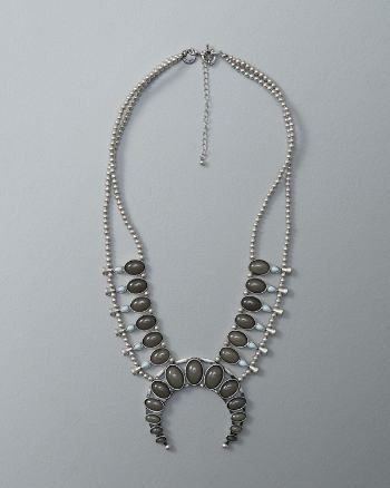 Womens Squash Blossom Statement Necklace