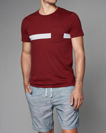 ANF Chest Stripe Crew Tee
