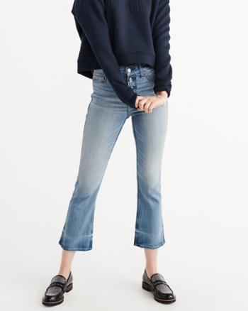 Womens High Rise Ankle Flare Jeans