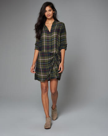 Womens Plaid Wrap Front Shirt Dress