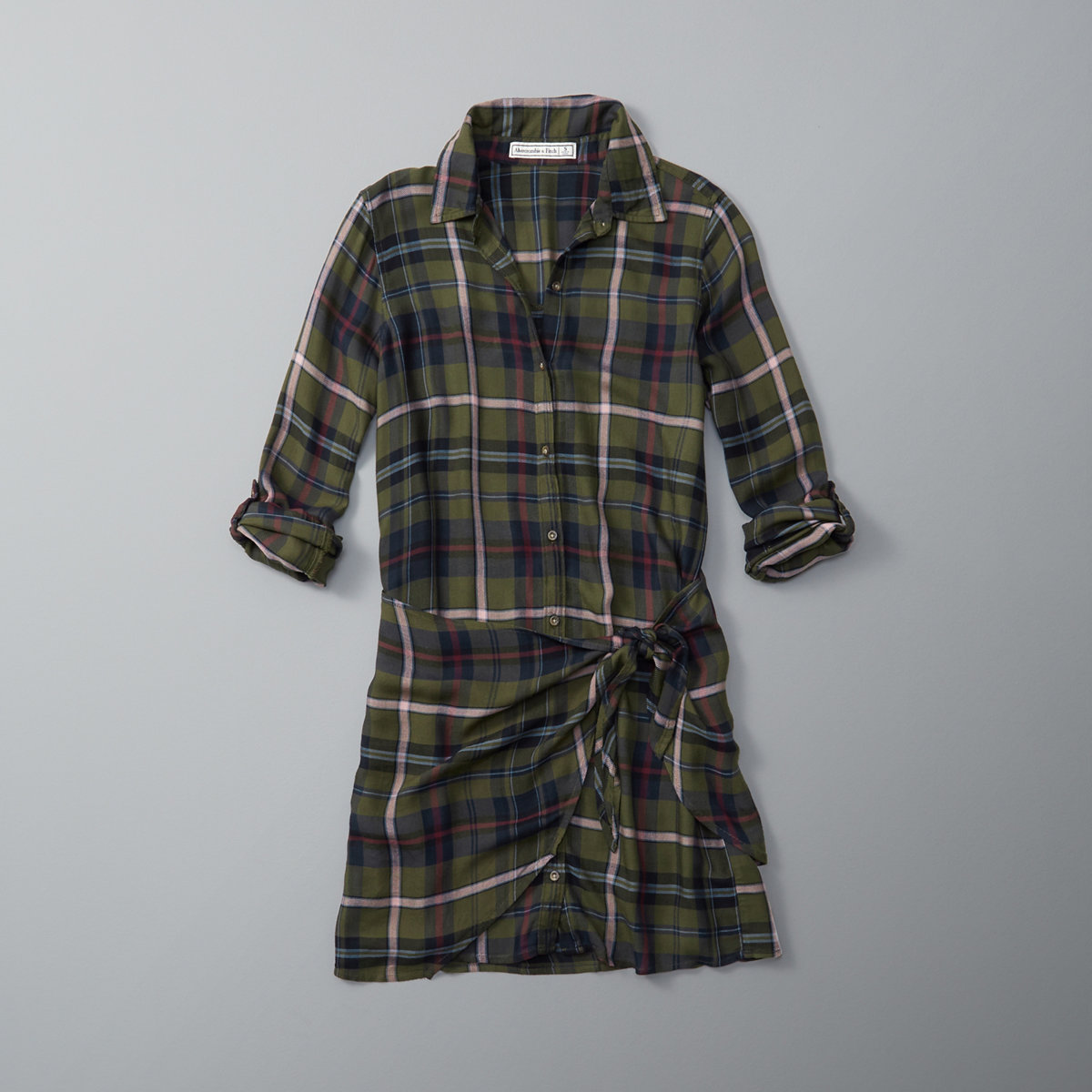 Plaid Wrap Front Shirt Dress