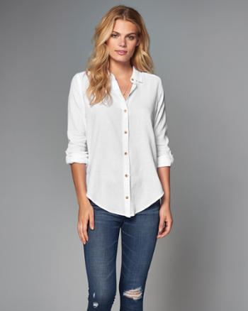 Womens Lightweight Cotton Button-Up Shirt