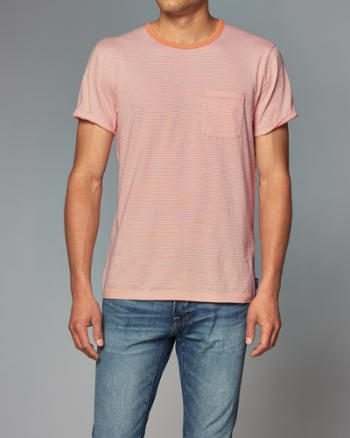 Mens Striped Pocket Tee