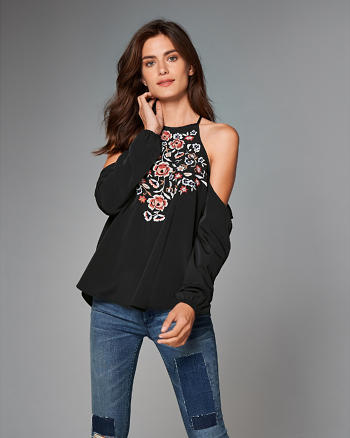 ANF High Neck Cold Shoulder Top