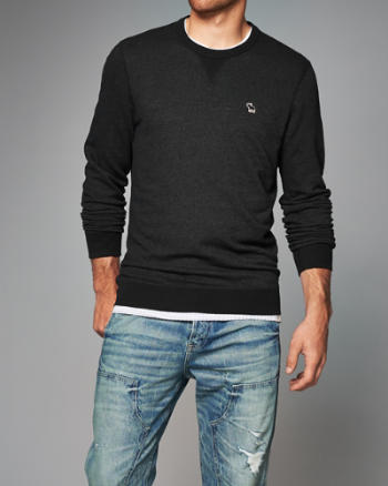 ANF Icon Textured Crew Sweatshirt