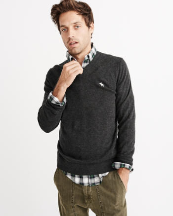 Mens Logo Wool-Blend V-Neck Sweater