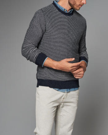 Mens Striped Roll Neck Sweater