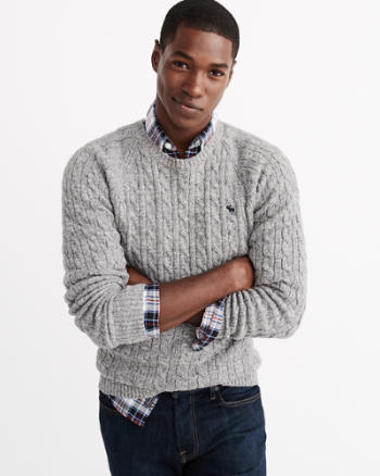 Mens Cable Knit Crew Sweater