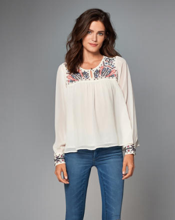 ANF Embellished Peasant Top
