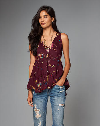 ANF Embellished Trapeze Tank Top