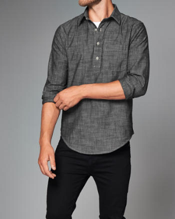 Mens Chambray Popover Shirt