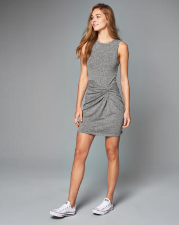Womens Knot Front Bodycon Dress
