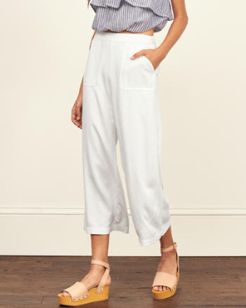 Womens Cropped Wide Leg Pant