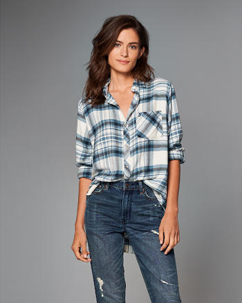 ANF Boyfriend Fit Flannel Button-Up Shirt